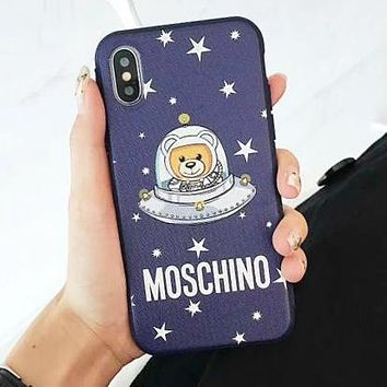MOSCHINO Trending Women Men Stylish Cute Stars Astronauts Mobile Phone Cover Case For iphone 6 6s 6plus 6s-plus 7 7plus 8 8plus X XsMax XR Blue