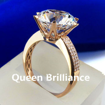 3 Carat ct F Color Engagement Wedding Lab Grown Moissanite Diamond  Ring With Real Diamond Accents 14K 585 White/Yellow Gold