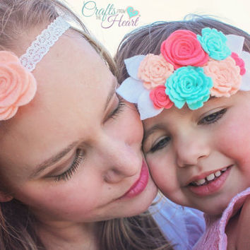 Felt Flower Headband - Mommy and Me Felt Flower Headband - Felt Halo - Felt Crown - Flower Crown - Flower Halo - Mint and Coral Headband