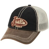 Justin Mesh Back Black and Brown Hat