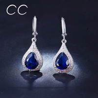 Water Drop Crystal Dangle Earrings for Women White Gold Plated Vintage Long Drop Earring Boucle d'Oreille CC Jewelry Brand ME020