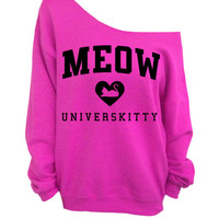 Meow Universkitty Cat Shirt - Hot Pink Slouchy Oversized CREW Sweatshirt