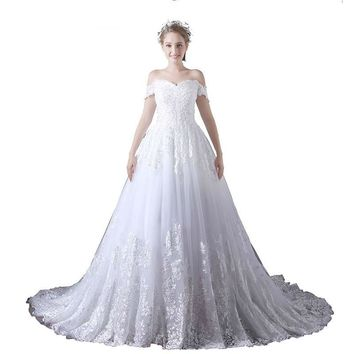 Romantic Sweetheart White Lace Wedding Dress Short Sleeve Bridal Ball Gowns Sequined Beaded Wedding Gowns Long