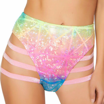 Rainbow Laser High-Waisted Strapped Booty Shorts