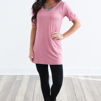 Tunic Length T-shirt- Dusty Rose