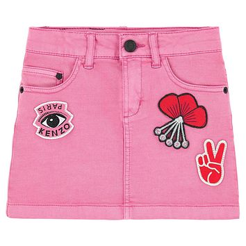 Kenzo Girls Pink Jeans Skirt with Patches