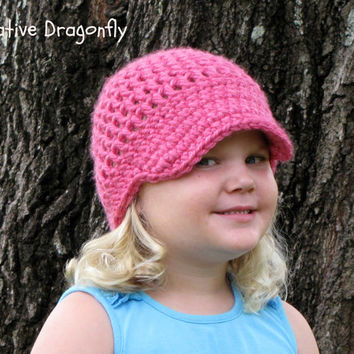 Chunky Pink Crocheted Visor Beanie, Hot Pink, Fall and Winter Hat, Toddler, Girls Hat, Womens Hat