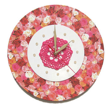 Wall Clock Roses and Lace Fantasy, exclusive gift, unique wall clocks, decorative wall clocks, modern wall clocks, wall clocks with flowers