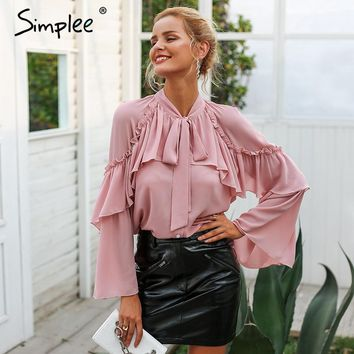 Simplee women long layered flare sleeve blouse Temperament lace up ladies chiffon blouses winter ruffle blouse shirt