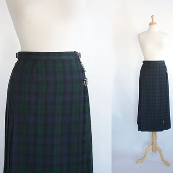 Vintage Laura Ashley Skirt / Tartan Plaid Maxi Skirt / Scottish Kilt Style Skirt / Blue and Green Plaid / 80s 90s Skirt