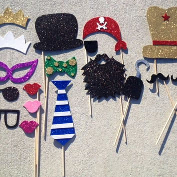 Assorted Photo Booth Prop Bundle (Set of 18); Party Pack (Handmade)