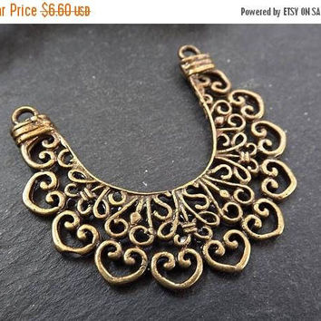 SUMMER SALE NEW Large Lace Crescent Pendant Connector Antique Bronze Plated Turkish Jewelry Making Supplies Findings Component