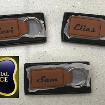 Personalized Engraved Leather Keychain!  Perfect Gift For Anyone!  Includes Gift Box and FREE SHIPPING!