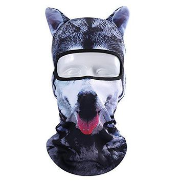 Oumers Animal Balaclava Face Mask with Ears Breathable Hood Face Shield for Outdoor Sports Cycling Motorcycle Ski Halloween Party Gift, One Size Fit Most (Women/ Men)---Husky Form