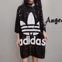 """Adidas"" Summer Loose Fashion Clover Letter Sequin Middle Sleeve T-shirt Mini Dress"