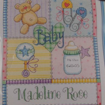 Dimensions Counted Cross Stitch Baby Squares Birth Record Hugs Pat Yuille 73104