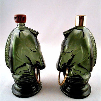 Avon Collectible Bottle: Horse Head Chess Piece Green Glass  #12 (Set of 2)