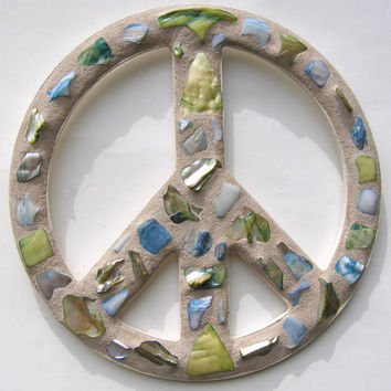 Shell Mosaic Peace Sign  Blue Green Peace Sign Wall Art Teen Dorm Girl's Room Retro 60s Art Coastal Beach Hippie Decor