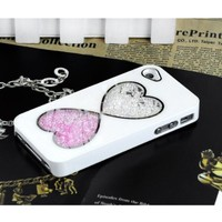 White Cute Bling Love Heart Diamond Crystal Case Cover For iPhone 4 4S