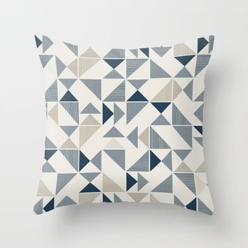 Geometric Mosaic Triangle Pattern Throw Pillow by Smyrna