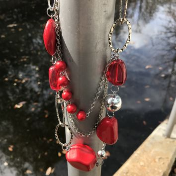 Multi Layer Red Bead Matinee Necklace & Earrings Set