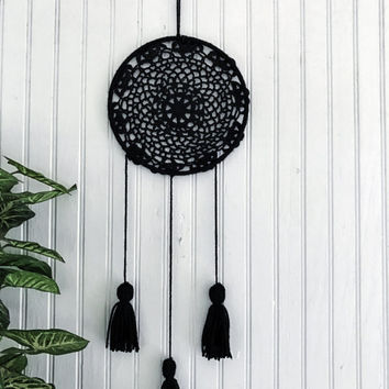 Black dream catcher, yarn wall hanging, yarn tassels, yarn wall art, boho wall decor, yarn art, crochet dreamcatcher, crochet doily