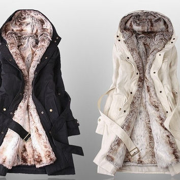 Faux Fur Lining Women Hooded Ladies Long Jacket Winter Warm Cotton Coats(US Size) = 1930447044