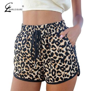 Leopard Printing Shorts High Waist Shorts Lace Up Fitness Shorts