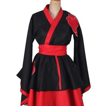 Naruto Sasauke ninja    Shippuden Akatsuki Organization Female Lolita Kimono Dress Anime Cosplay Costume AT_81_8