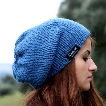 Hand Knit Hat, Women's Slouchy Hat, Mens Hat, Slate Blue Slouchy Beanie, Winter Accessories