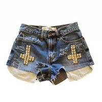 Women's Sophia Studded Cross Vintage High Waisted Cutoff Denim Jean Shorts