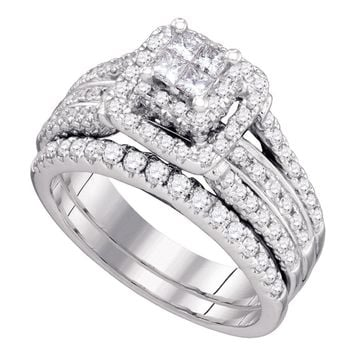 14kt White Gold Womens Princess Diamond Elevated Bridal Wedding Engagement Ring Band Set 1-1/5 Cttw