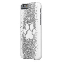 pet paw print silver glitter and white barely there iPhone 6 case