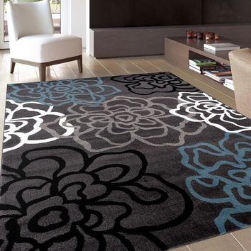 Alpine Abstract Modern Floral Area Rugs