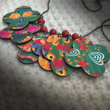 Kantha Quilt Necklace - Festival Necklace - Summer Necklace - Green Red Yellow - Heritage Print - Traditional Folk - Quatrefoil Necklace