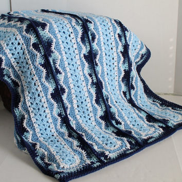 Crochet Queen Size Blanket Pattern : Afghan - Handmade Crochet Queen Size Blanket - Shades of Blue