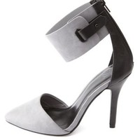 Ankle Cuff Pointed Toe D'Orsay Pumps by Charlotte Russe - Gray