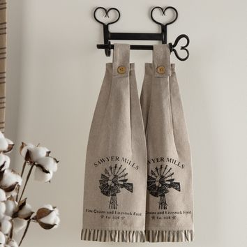 Sawyer Mill Charcoal Kitchen Towels - Windmill