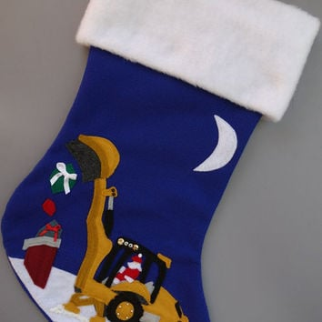 Backhoe/Construction Christmas Stocking