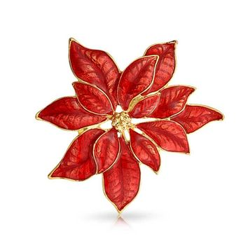 Large Flower Holiday Poinsettia Brooch Christmas Pin Red Enamel Gold