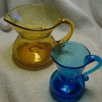 "LOT of 2 Vintage CRACKLE GLASS Pitchers Creamers 4"" Yellow Amber Crackle Glass and 3 1/2"" Blue Crackle Glass Cottage Chic Decor"