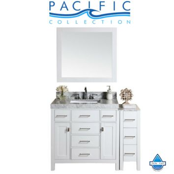 """52"""" Malibu Single Modern Bathroom Vanity with Side Cabinet, White Marble Top with Undermount Sink and Mirror"""