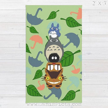 Totoro Kawaii My Neighbor RUG Home Decor Accent Decorative Kid Gift For Her Green Anime Grey Manga Troll Hayao Miyazaki Studio Ghibli Catbus