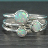 Opal ring set, 3 stacking rings, sterling silver, simulated white opal, October birthstone, handmade rings, promise, gift for bridesmaid