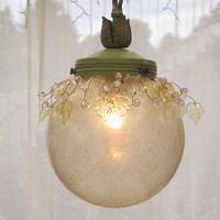 Vintage Light Ball Pendant Iridescent Gold Hand by queendecor