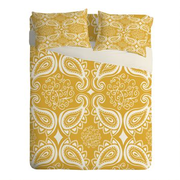 Heather Dutton Plush Paisley Goldenrod Sheet Set Lightweight