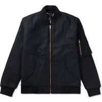 Black Melton Wool MA-1 Jacket