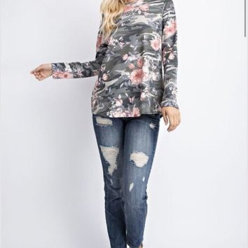 143 Story Floral Camouflage French Terry Top