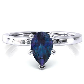 Maise Pear Alexandrite 6 Prong Diamond Accent Engagement Ring