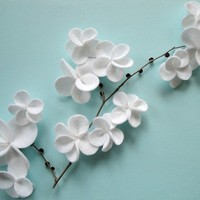 White Cascading Flower Magnets Set of Four by DashingEtc on Etsy